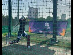 West Indies all-rounder Andre Russell bats in the nets in Dubai.